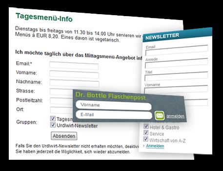 Anmeldeformular auf der Homepage für Ihren Newsletter