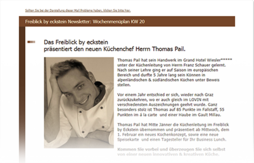 Men�plan als Newsletter versenden mit dem power newslette